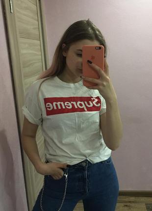 Supreme футболка топ базовая белая с надписью тренд