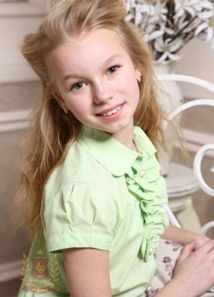 Распродажа! салатовая блуза рубашка в школу девочкам тм милана