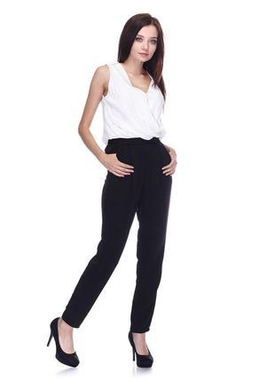 Комбинезон брючный классический топ шифоновый белый брюки чёрные коттон next