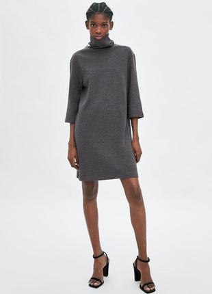 Zara платье серое  с высоким воротом, m/l