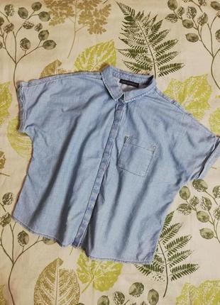 Фирменная джинсовая оверсайз рубашка marks & spencer 100% коттон