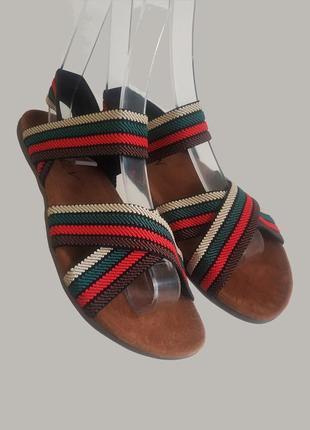 Босоножки на резинке шлепанцы сандалии на плоской подошве эко - замша