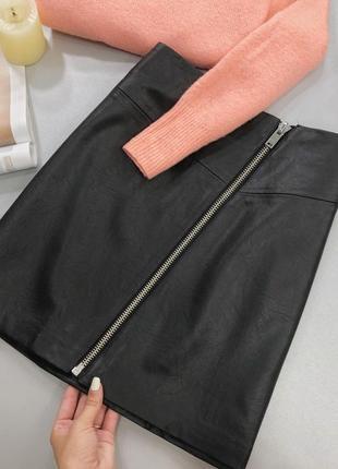 Тренд! юбка с замком эко кожа высокая талия brandattic asos3 фото
