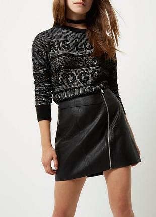 Тренд! юбка с замком эко кожа высокая талия brandattic asos
