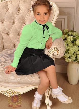 Распродажа салатовая блуза рубашка в школу девочкам р. 140 тм милана