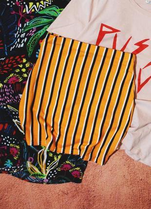 Тотальная распродажа!  полосатая мини – юбка с высокой посадкой