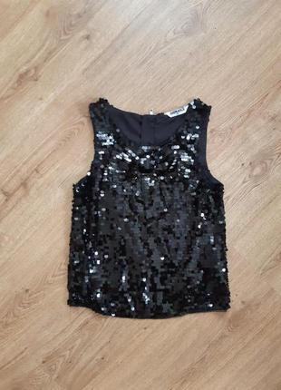 Стильная нарядная вечерняя блузка топ майка в паетки new look