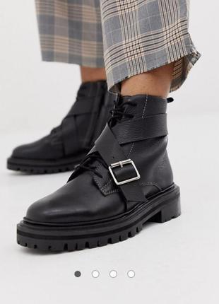 Новые черные кожаные демисезонные ботинки