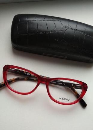 Фирменная оправа для очков красная, очки кошачий глаз оригинал iceberg ic170 02