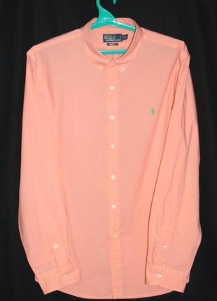 Ralph lauren шикарная рубашка персикового цвета - xl - xxl