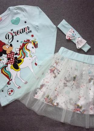 Комплект юбка реглан повязка для девочки