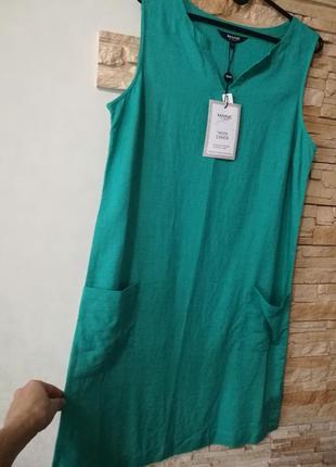 Сочный яркий бирюзовый льняной сарафан платье-шифт5 фото