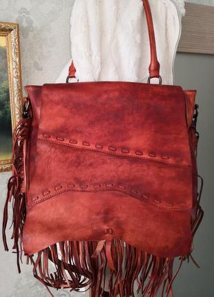 Очень оригинальная кожаная сумка в стиле бохо с бахромой genuine leather, италия