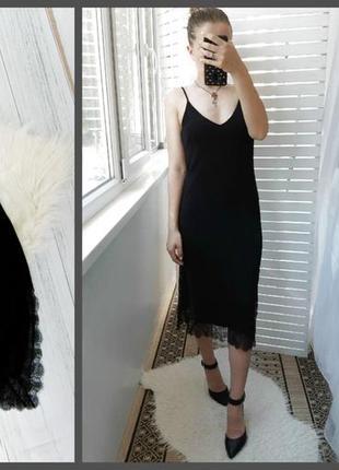 ⚘шикарное платье-комбинация с кружевом h&m⚘