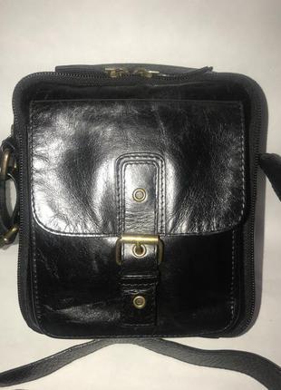 Мужская кожаная компактная сумка через плечо. стиль кросс боди.(2 отделения)