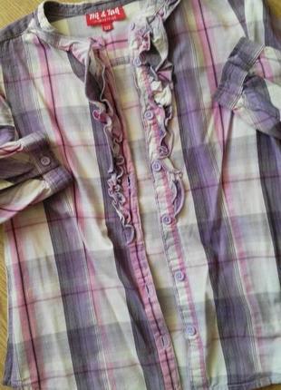 Бомбовая клетчатая хлопковая рубашечка для девочки