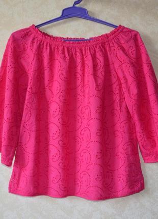 Шикарная блуза рубашка  с  прошвы  вышиванкаtu/коттоновая блуза с вышивкой