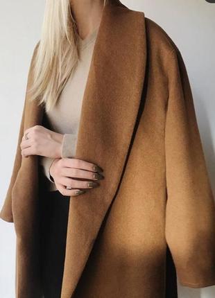 Горчичное пальто h&m