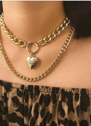 Чокер цепи золото сердечко сердце толстые цепочки