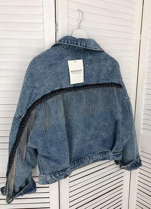 Стильная джинсовка с бахромой