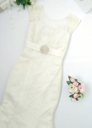 Платье свадебное рыбка выпускное вечернее айвори молочное