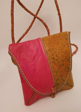 Эксклюзивная интересная кожаная сумочка crossbody ручной работы