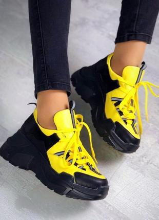 Натуральная кожа супер стильные яркие контрастные кроссовки лимонный+черный