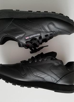 Оригінальні кросівки reebok classic leather black (кроссовки, кеди, ботинки) , 38 розмір