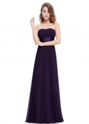 Фиолетовое шифоновое платье без бретелек