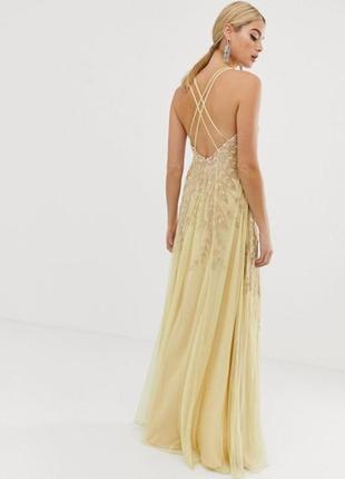 Asos розкішна жовто-золота декорована бісером та паєтками сукня8 фото