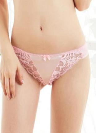 Нежно-розовые стринги с кружевом
