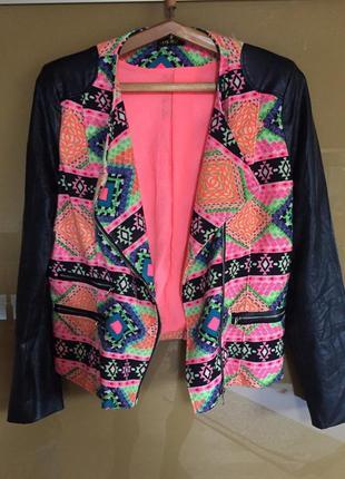 Стильный жакет блейзер куртка косуха рукава эко кожа ambika