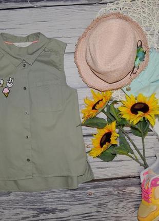 12 - 13 лет 158 см фирменная джинсовая летняя блуза рубашка безрукавка с патчами нашивками