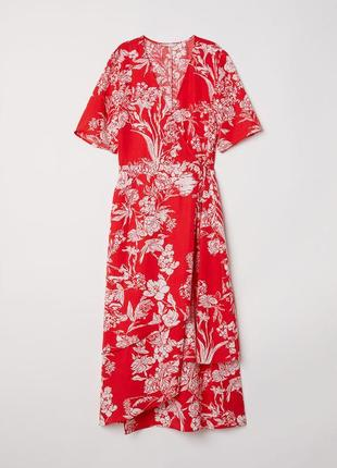 Шикарное платье миди на запах цветочный принт от h&m