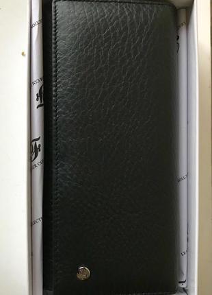 Большой чёрный кошелек-картхолдер, 100% натуральная кожа