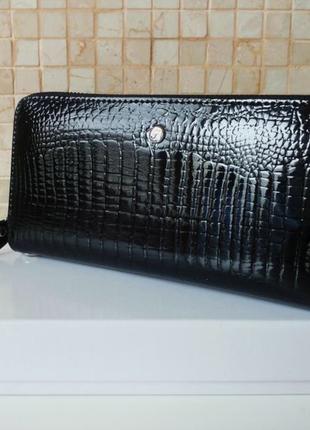 Женский кожаный кошелек-клатч, цвет чёрный