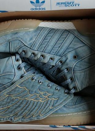 Мужские дизайнерские кроссовки adidas originals jeremy scott wings denim