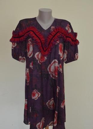 """Очень шикарное итальянское платье фасон """"трапеция"""" с рюшами"""