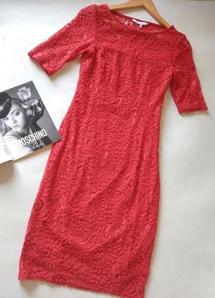 Красное кружевное платье redherring