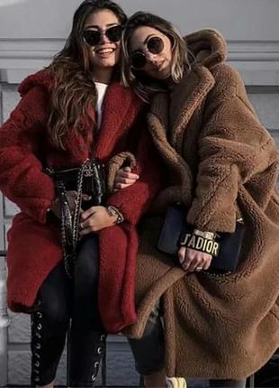 Шуба-пальто тедди из искусственного меха в стиле max mara