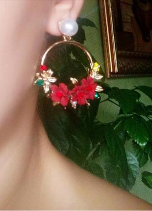 Серьги красные цветочки цветочек сережки