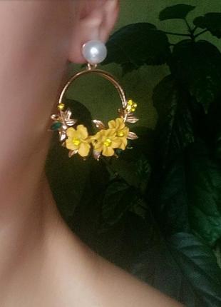 Серьги желтые сережки цветочки цветочек