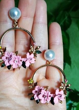 Серьги розовые цветочки цветочек сережки