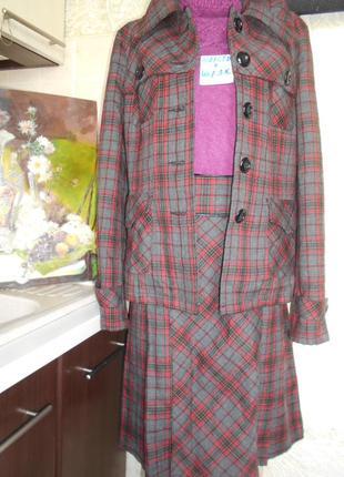 #l m c#полушерстяной костюм шотландка#жакет и юбка #нюанс #
