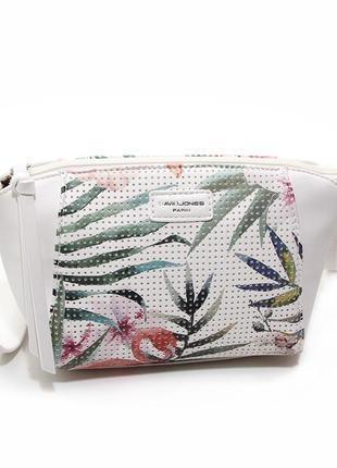 Белая маленькая сумка через плечо молодежная на молнии рисунок фламинго