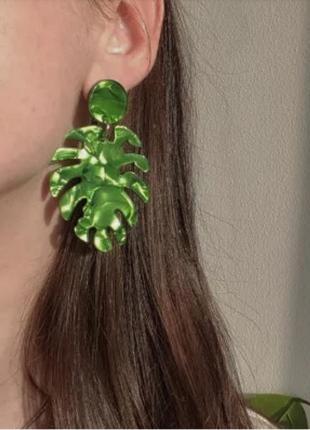 Серьги акриловые салатные зеленые листочки сережки