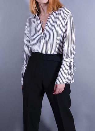 Женская рубашка, белая блуза в полоску, свободная рубашка в полоску