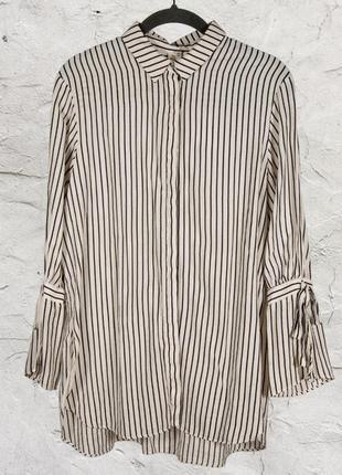Женская рубашка, белая блуза в полоску, свободная рубашка в полоску2 фото