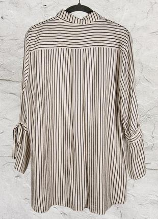 Женская рубашка, белая блуза в полоску, свободная рубашка в полоску3 фото