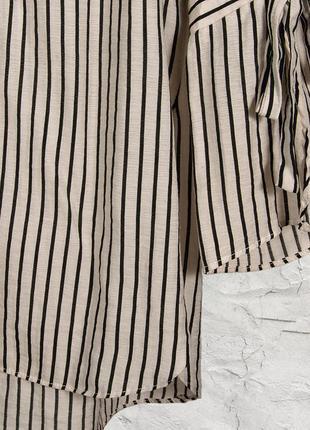 Женская рубашка, белая блуза в полоску, свободная рубашка в полоску4 фото